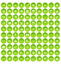 100 ocean icons set green circle vector
