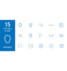 15 banner icons vector