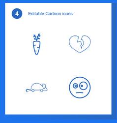 4 cartoon icons vector