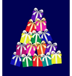 abstract christmas tree of gifts boxes vector image