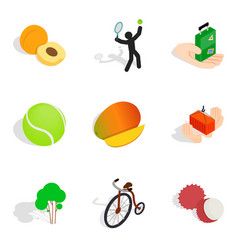 Agility icons set isometric style vector