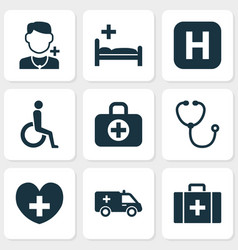 antibiotic icons set with clinic doctor vector image