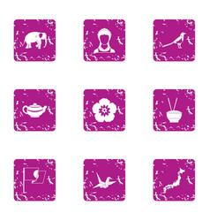 Asia leitmotive icons set grunge style vector