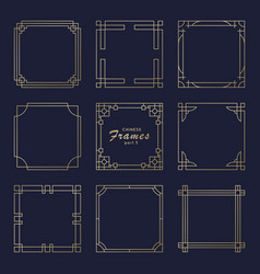 Asian square frame set in vintage style vector