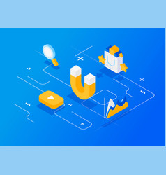 Attracting online customers inbound marketing vector