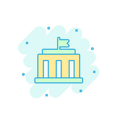 bank building icon in comic style government vector image