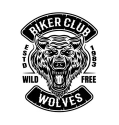 Biker club patch or emblem with wolf head vector