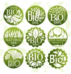 Bio and natural product labels set vector image