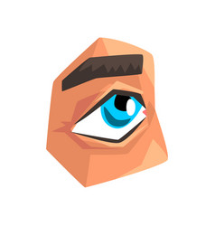 Blue eye and eyebrow male body part vector