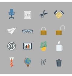 Business collection of flat office supplies vector