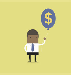 Businessman holding money dollar sign balloon vector