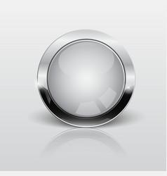 button web glossy whitemetallic vector image