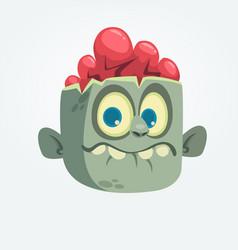 cartoon funny gray zombie head surprised vector image vector image