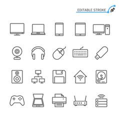 computer line icons editable stroke vector image