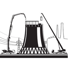 construction of cooling tower in power plant vector image