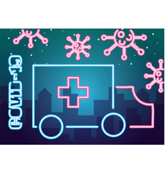 Covid19 particles with ambulance neon light style vector
