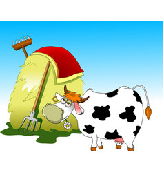 Cow and haystack vector