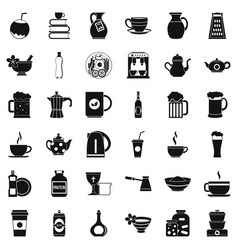 Crockery icons set simple style vector