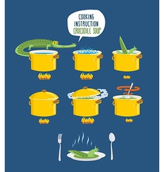 Crocodile Soup on cooking instruction Step-by-step vector