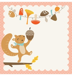 Cute autumn squirrel vector