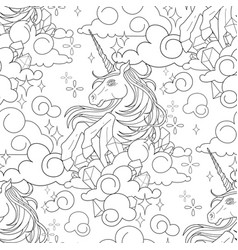 Cute graphic unicorn pattern vector