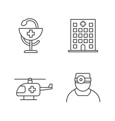dentistry linear icons set vector image