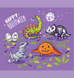 dinosaurs in costumes for halloween set of vector image