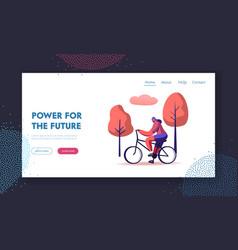 Ecology bike transport website landing page woman vector
