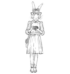 Fashion of cute bunny hipster with photocamera vector