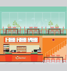 Fast food restaurant interior with hamburger and vector