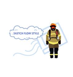 fireman wearing protective uniform and helmet man vector image