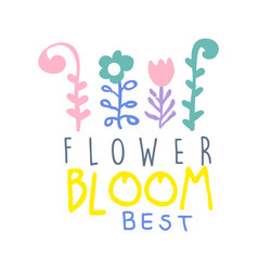 Flower bloom best logo template colorful hand vector
