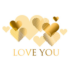for holiday design many gold and black hearts on vector image