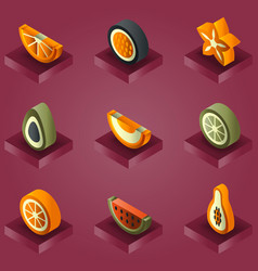 fruit color gradient isometric set vector image