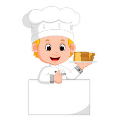Funny chef and sign board vector