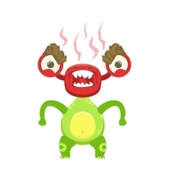 Funny monster fuming with rage green alien emoji vector