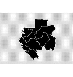 gabon map - high detailed black map with vector image