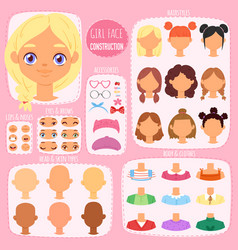 Girl face constructor kids character avatar vector