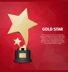 Gold star web banner with gold statuette vector
