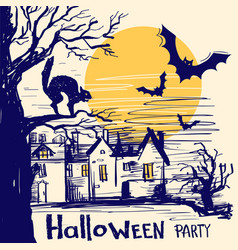 Halloween party card with castle and old tree vector