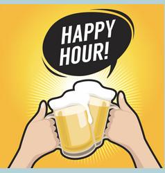 happy hour celebrating beers vector image