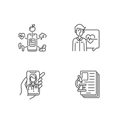 healthcare service linear icons set vector image