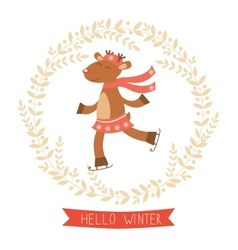 Hello winter card with cute deer girl vector