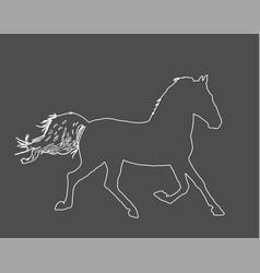 Horse in gallop line contour vector