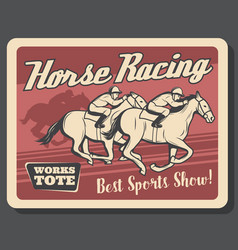 horse racing retro poster of equestrians on track vector image