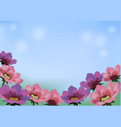 Image with flowers blue sky and place for text vector