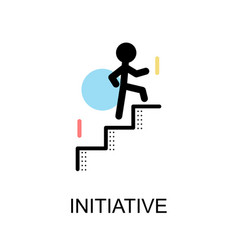 Initiative logo and man with stairs on white vector