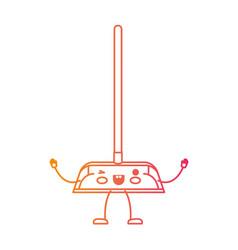 kawaii cartoon dustpan with wooden stick in vector image