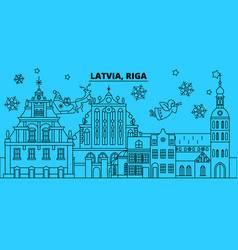 latvia riga winter holidays skyline merry vector image