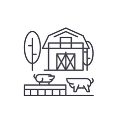livestock line icon concept livestock vector image